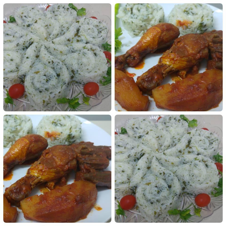 אורז מלא מלא בירק ועוף עם תפוחי אדמה (טבחה)