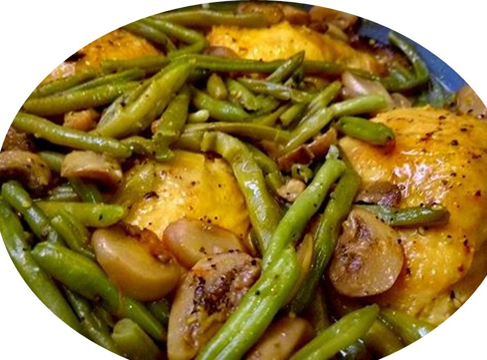עוף עם שעועית ירוקה ופטריות