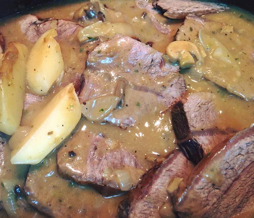 צלי בקר עם פטריות   .... מבשלים ואופים עם מאסטר מתכונים ...