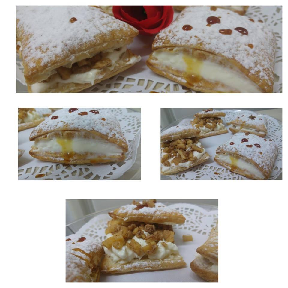 מבשלים ואופים עם מאסטר מתכונים   ---   ריבועי בצק עלים עם שמנת מתוקה ומסרקפונה מקורמלים עם תפוחים