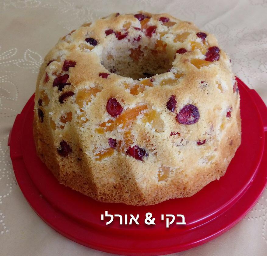 עוגת משמשים וחמוציות בחושה ומטריפה