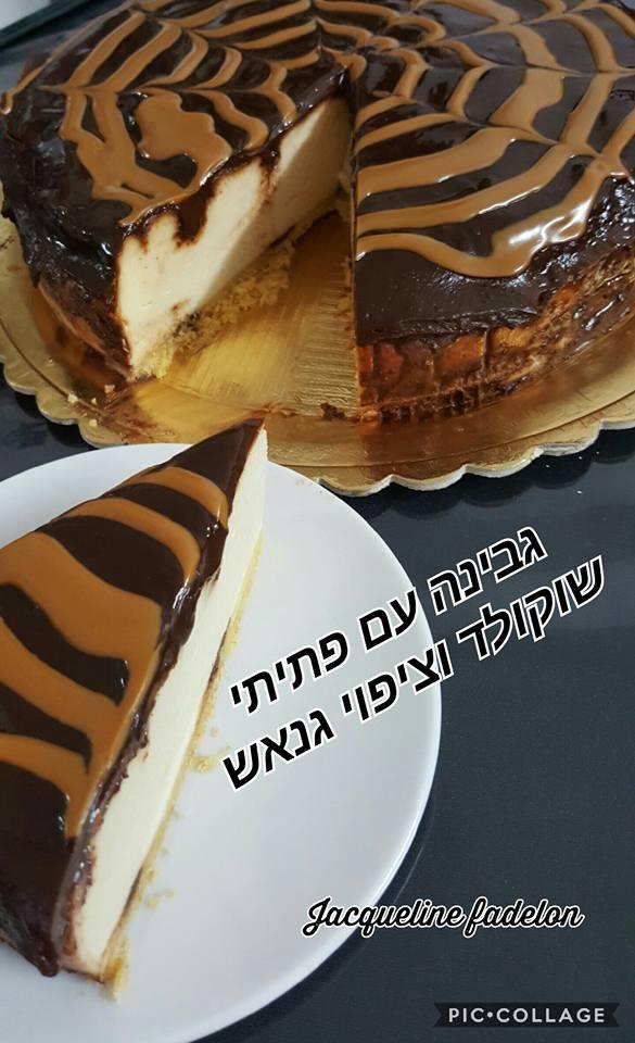 עוגת גבינה עם פתיתי שוקולד וציפוי גנאש שוקולד מריר