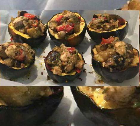 דלעת ערמונים ממולאת קוביות חצילים וחזה עוף ועגבניות בתנור ..מנה מהממת