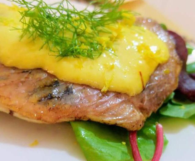 דג צרוב עם איולי זעפרן - דוד מרציאנו