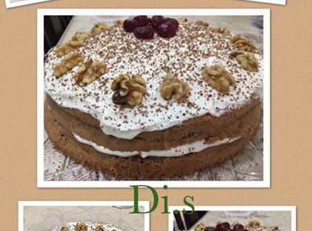 עוגת אגוזים עם קרם שמנת לפסח..מתכון : די שיקר