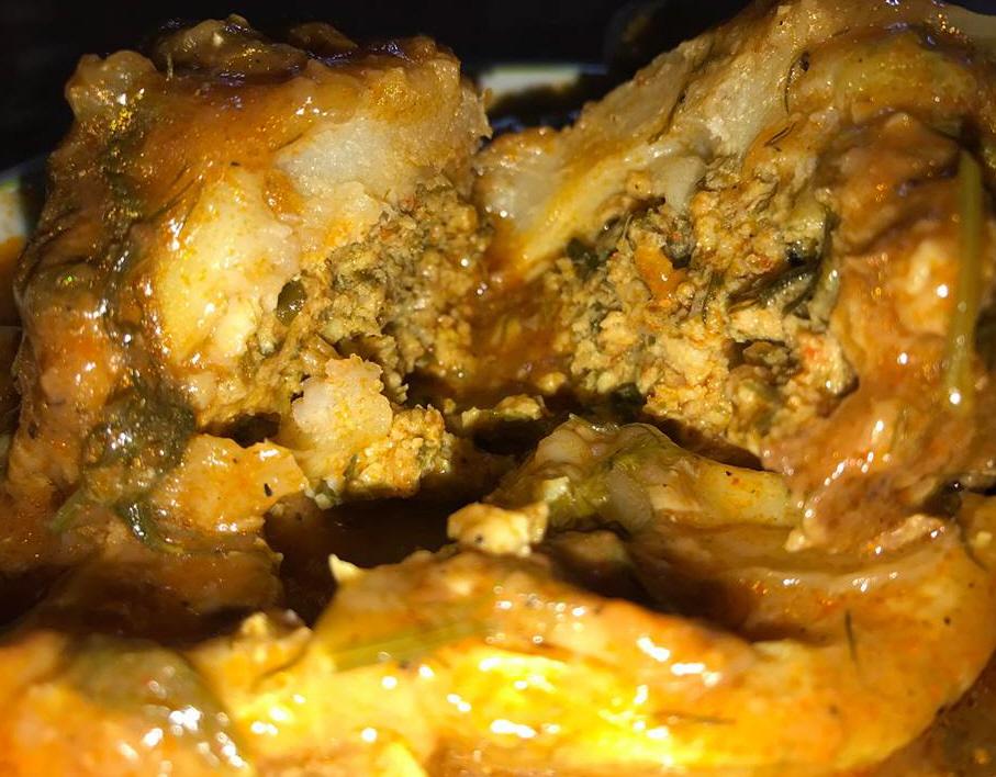 ארטישוק ממולא(גנארייה מאחשייה) בבשר אדום ועשבי תיבול עם רוטב פטריות שמפיניון - בריג'יט רובין-סבן