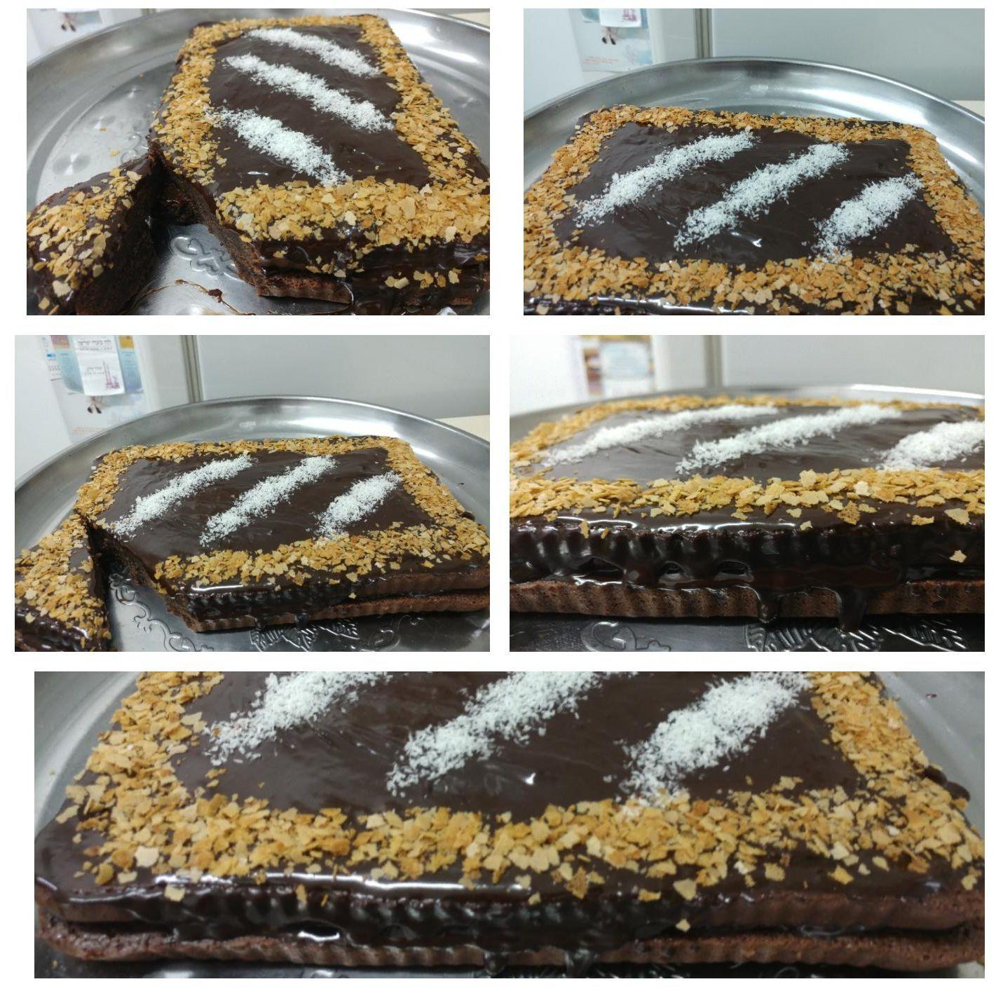 עוגת שוקולד ופרג עם גראש שוקולד באמצע