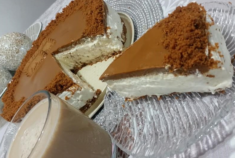 עוגת גבינה קרה לוטוס לפני פנים,לא נשאר פרור