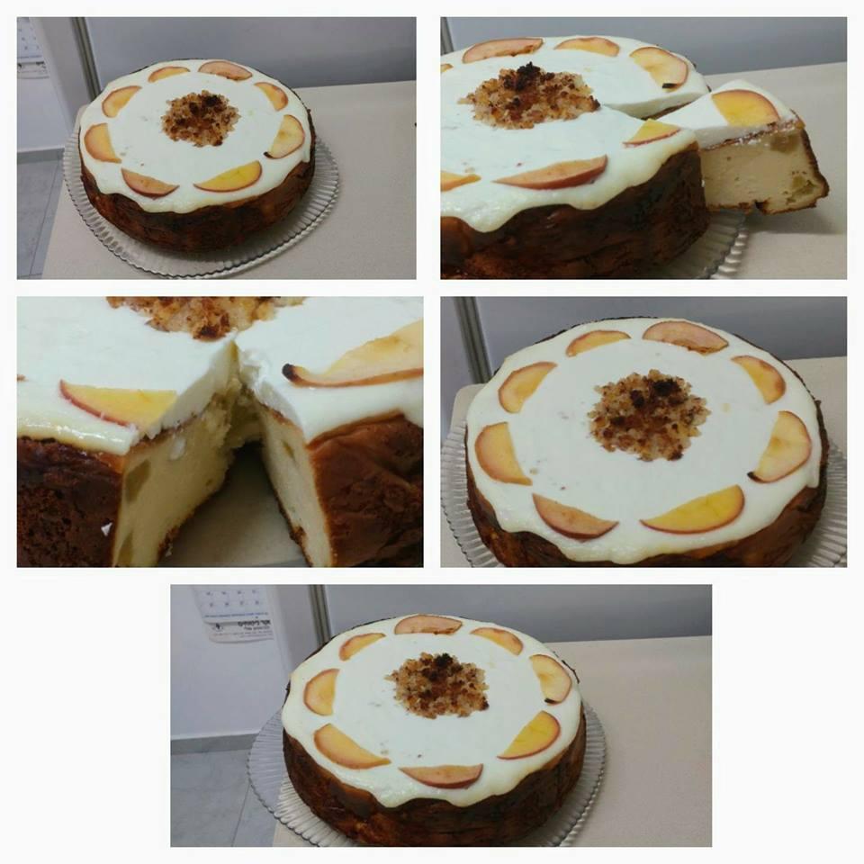 עוגת גבינה עם תפוחים ,בחושה ,קלה ,והטעם מיוחד