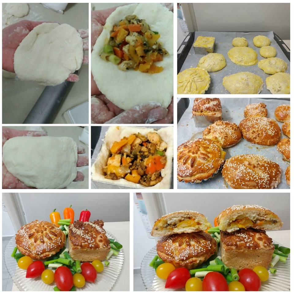 מאפה עם ירקות וחזה עוף