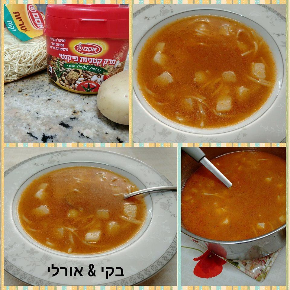 מרק תפוחי אדמה ואטריות פיקנטי
