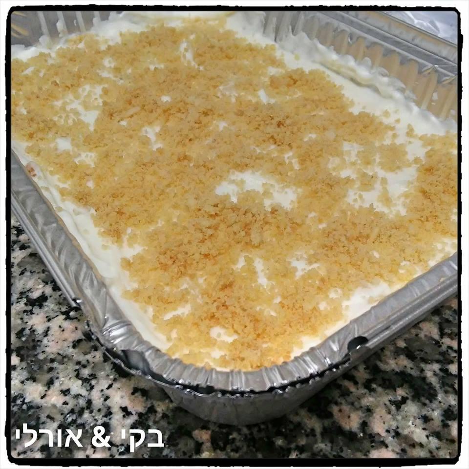 עוגת גבינה עם עוגיות ללא אפייה