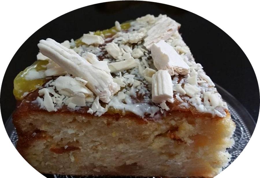 עוגת וניל, תפוז ומקופלת שוקולד לבן