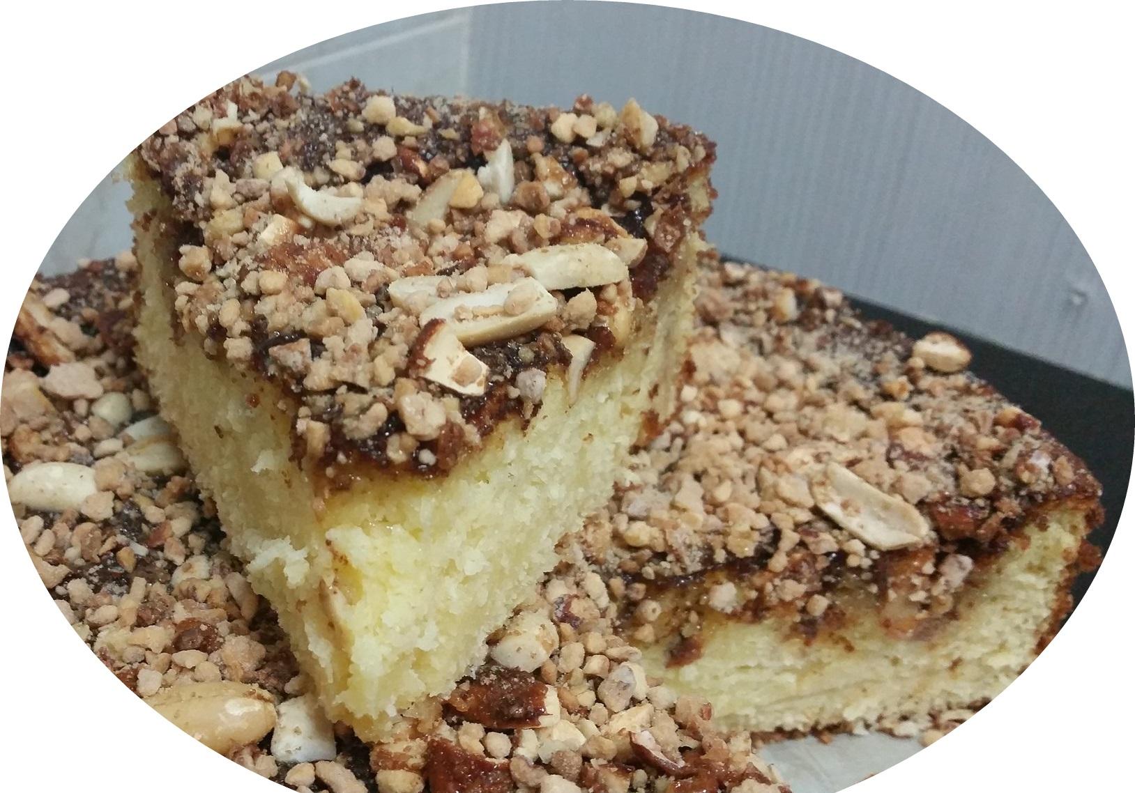 עוגת מייפל וקוקוס, עם אגוזים מקורמלים