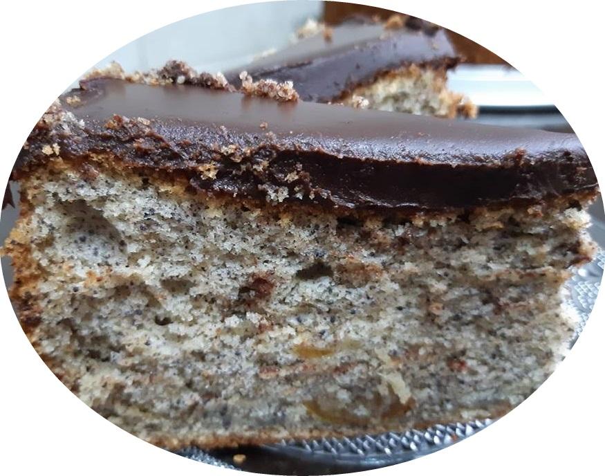 עוגת פרג עם ריבת תפוזים,מצופה בגאנש שוקולד