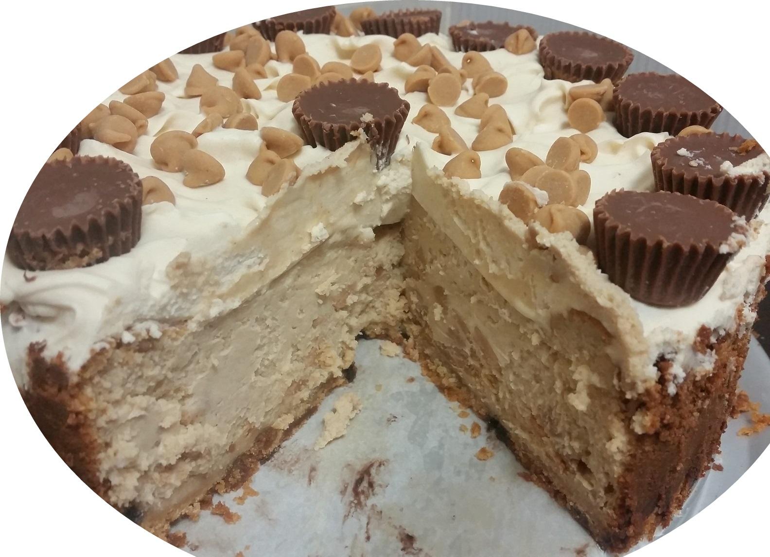 עוגת חמאת בוטניםוגבינה בזיגוג שוקולד לבן