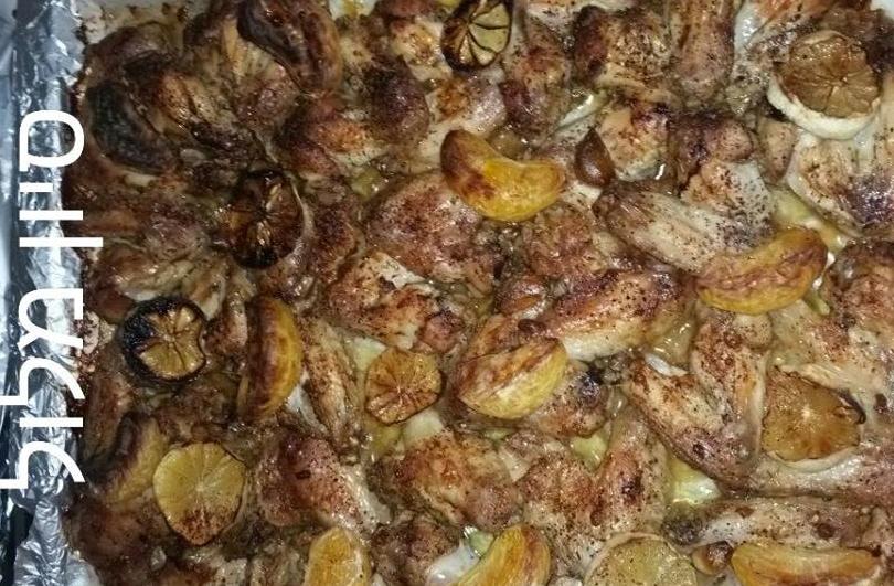 עוף אפוי עם פירות הדר